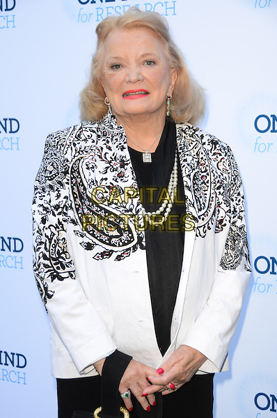 Gena Rowlands .Circle Of Hope Dinner And Entertainment Gala held at Beverly Hills Hotel, Beverly Hills, California, USA..September 19th, 2012.half length black white blazer paisley print pearl necklace.CAP/ADM/TW.©Tonya Wise/AdMedia/Capital Pictures.