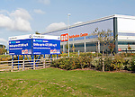 G Park advertising board for industrial units to let by Gazeley property developers, Swindon, England, UK with B&Q distribution centre in background