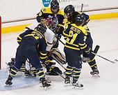 Jillian Battista (Merrimack - 11), Delaney Belinskas (BC - 17), Samantha Ridgewell (Merrimack - 34), Chloe Cook (Merrimack - 29), Felila Manu (Merrimack - 4), Annie Boeckers (Merrimack - 21) - The number one seeded Boston College Eagles defeated the eight seeded Merrimack College Warriors 1-0 to sweep their Hockey East quarterfinal series on Friday, February 24, 2017, at Kelley Rink in Conte Forum in Chestnut Hill, Massachusetts.The number one seeded Boston College Eagles defeated the eight seeded Merrimack College Warriors 1-0 to sweep their Hockey East quarterfinal series on Friday, February 24, 2017, at Kelley Rink in Conte Forum in Chestnut Hill, Massachusetts.