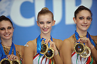 Italian rhythmic group hold medals after winning gold in Event Finals at 2009 Pesaro World Cup on May 2, 2009 at Pesaro, Italy.  Photo by Tom Theobald.Note: (L-R) Daniela Masseroni, Anzhelika Savrayuk, Giulia  Galtarossa.