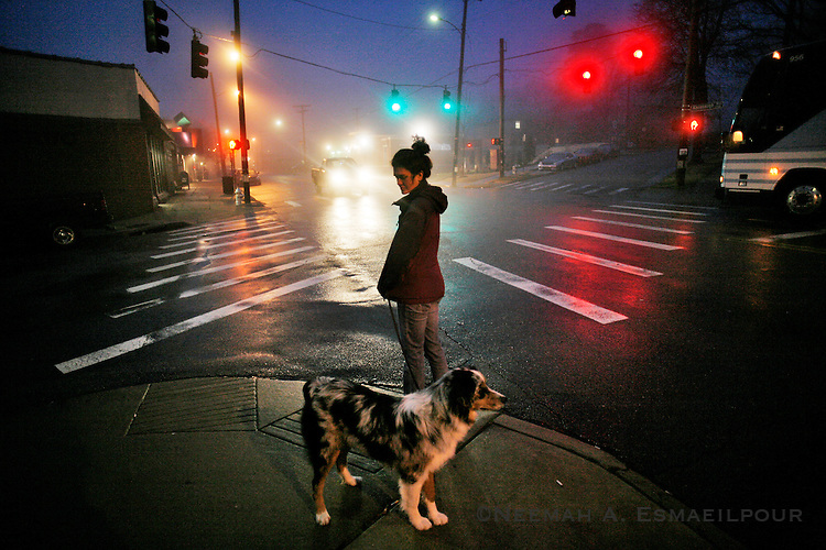 Dianna Jones swith her Australian Shepherd, Smoke, at an intersection in Hillcrest (Little Rock, Ark.)