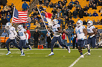 The North Carolina Tarheels football team takes the field. The North Carolina Tarheels defeated the Pitt Panthers football team 34-31 at Heinz Field, Pittsburgh, Pennsylvania on November 9, 2017.