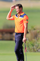 Bjorn Akesson (SWE) on the 14th green during Thursday's Round 1 of the 2016 Portugal Masters held at the Oceanico Victoria Golf Course, Vilamoura, Algarve, Portugal. 19th October 2016.<br /> Picture: Eoin Clarke   Golffile<br /> <br /> <br /> All photos usage must carry mandatory copyright credit (© Golffile   Eoin Clarke)
