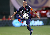 WASHINGTON, DC - July 28, 2012:  Christophe Jallet (26) of PSG (Paris Saint-Germain) in an international friendly match against DC United at RFK Stadium in Washington DC on July 28. The game ended in a 1-1 tie.