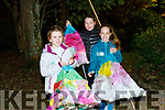 Niamh Cuddigan, Aisling O'Halloran and Florence Corridan about to march in the lantern parade in Listowel on Saturday night.