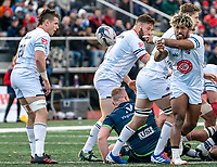WASHINGTON, DC - FEBRUARY 16: Danny Tusitala #9 of Old Glory DC passes back from the scrum during a game between Seattle Seawolves and Old Glory DC at Cardinal Stadium on February 16, 2020 in Washington, DC.