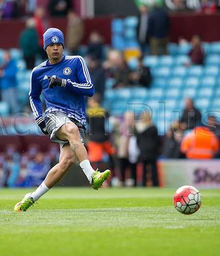 02.04.2016. Villa Park, Birmingham, England. Barclays Premier League. Aston Villa versus Chelsea.  Chelsea forward Kenedy warming up with the ball before the match.