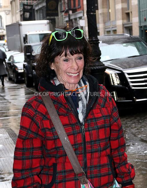 WWW.ACEPIXS.COM<br /> <br /> March 31 2015, New York City<br /> <br /> Geraldine Chaplin arrives at a downtown hotel on March 31 2015 in New York City<br /> <br /> By Line: Zelig Shaul/ACE Pictures<br /> <br /> <br /> ACE Pictures, Inc.<br /> tel: 646 769 0430<br /> Email: info@acepixs.com<br /> www.acepixs.com