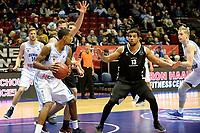 GRONINGEN - Basketbal, Donar - Apollo Amsterdam, Martiniplaza,  Dutch Basketbal League, seizoen 2018-2019, 11-11-2018,  Donar speler Jason Dourisseau met Apollo speler Dimeo van der Horst