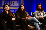 Washington, DC - March 23, 2018: Rebecca Schneid, Nikhita Nookala, Christy Ma and student journalists from Marjory Stoneman Douglas High School in Parkland, Florida participate in a panel discussion, moderated by CBS correspondent Margaret Brennan, at the Newseum in Washington, D.C. March 23, 2018. The students recounted their experiences in covering the shooting tragedy at their school for The Eagle Eye newspaper.  (Photo by Don Baxter/Media Images International)