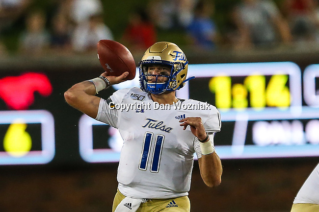 Tulsa Golden Hurricane quarterback Zach Smith (11) in action during the game between the Tulsa Golden Hurricanes and the SMU Mustangs at the Gerald J. Ford Stadium in Fort Worth, Texas.
