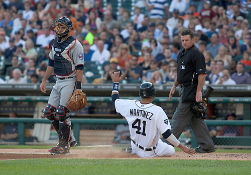 June 01, 2011:  Detroit Tigers catcher Victor Martinez (#41) slides into home to score run in game action during MLB game between the Minnesota Twins and the Detroit Tigers at Comerica Park in Detroit, Michigan.  The Tigers defeated the Twins 4-2.