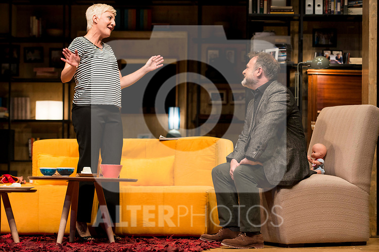 Eva Hache and Xavi Mira during theater play of &quot;Los vecinos de arriba&quot; at Teatro Circulo de Bellas Artes in Madrid, April 25, 2017. Spain.<br /> (ALTERPHOTOS/BorjaB.Hojas)