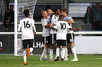 Fulham U23 players congratulate Robert Atkinson after scoring their second goal during Fulham Under-23 vs Manchester United Under-23, Premier League 2 Football at Motspur Park on 10th August 2018