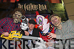 Michael Healy Rae poses with monsters and freaks at the Nightmare realm at Toby World before launching it on Tuesday Night.