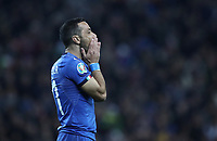 Football: Euro 2020 Group J qualifying football match Italy vs Finland at the Friuli Stadium in Udine on march  23, 2019<br /> Italy's Fabio Quagliarella reacts during the Euro 2020 qualifying football match between Italy and Finland at the Friuli Stadium in Udine, on march 23, 019<br /> UPDATE IMAGES PRESS/Isabella Bonotto