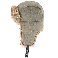 Studio photograph of the ZH104 Derby Tweed Trapper Hat W/Faux Fur Trims