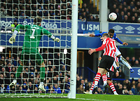 Everton's Ademola Lookman scores the opening goal<br /> <br /> Photographer Andrew Vaughan/CameraSport<br /> <br /> Emirates FA Cup Third Round - Everton v Lincoln City - Saturday 5th January 2019 - Goodison Park - Liverpool<br />  <br /> World Copyright &copy; 2019 CameraSport. All rights reserved. 43 Linden Ave. Countesthorpe. Leicester. England. LE8 5PG - Tel: +44 (0) 116 277 4147 - admin@camerasport.com - www.camerasport.com
