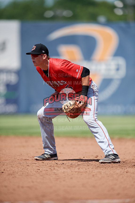 Batavia Muckdogs first baseman Sean Reynolds (25) during a game against the Auburn Doubledays on June 17, 2018 at Falcon Park in Auburn, New York.  Auburn defeated Batavia 10-6.  (Mike Janes/Four Seam Images)