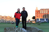Damien McGrane (IRL) &amp; Peter Lawrie (IRL) on the Swilcan Bridge on the 18th fairway at St. Andrews after Round 1 of the 2015 Alfred Dunhill Links Championship at the Old Course St. Andrews in Scotland on 1/10/15.<br /> Picture: Thos Caffrey | Golffile