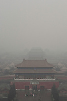 01 March 2012 - Beijing, China-  The north gate of the Forbidden City disappears in the smog that covers Beijing for days.<br />