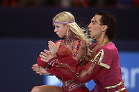 November 19, 2005; Paris, France; Figure skating stars ELENA GRUSHINA and RUSIAN GONCHAROV of Russia skate to gold in ice dancing at Trophee Eric Bompard, ISU Paris Grand Prix competition.  They are one of the favorites in ice dancing leading up to Torino 2006 Olympics.<br />Mandatory Credit: Tom Theobald/<br />Copyright 2005 Tom Theobald