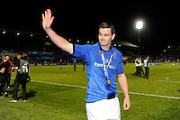 Jonathan Sexton of Leinster thanks the fans after winning the Amlin Challenge Cup Final between Leinster Rugby and Stade Francais at the RDS Arena, Dublin on Friday 17th May 2013 (Photo by Rob Munro).
