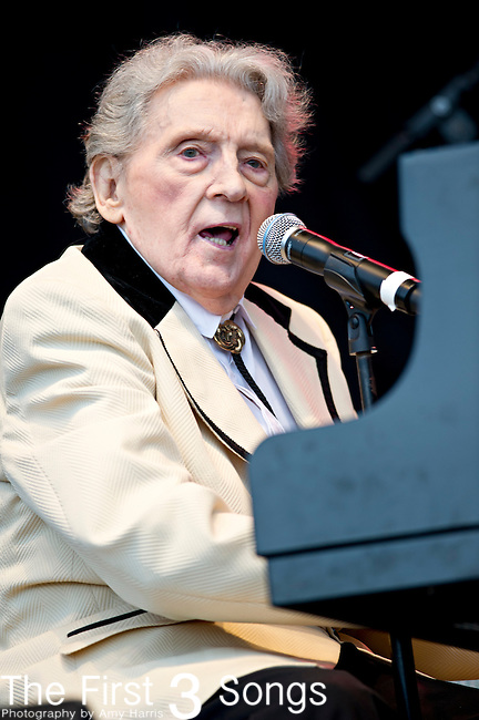 Jerry Lee Lewis performs during the The Beale Street Music Festival in Memphis, Tennessee.