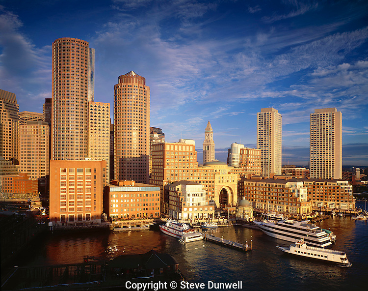 Rowes Wharf harbor skyline from Moakley Courthouse, Boston, MA (w/ corrections)