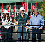 July 7, 2011 - Calgary, Alberta, Canada - Catherine Middleton, Duchess of Cambridge and Prince William arrive at the Calgary Stampede grounds in front of BMO centre with Canadian Prime Minister Stephen Harper, to watch a rodeo demonstration. Calgary is the last Canadian stop of the British Royal Tour. Photo by Jimmy Jeong / Rogue Collective