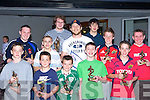 Award winners who were presented with their honours by Munster star John O'Sullivan at the Killorglin Rugby club awards night in the Intermediate School Killorglin on Friday was front row l-r: Conor O'Leary, Cian O'Leary, Frank Sugrue, Cian Foley, David Carroll. Back row: Keelan Foley, James Tuohy, John O'Sullivan, Shane Corkery, Kyle Fitzgerald, Shane Costello and John James Johnston   Copyright Kerry's Eye 2008