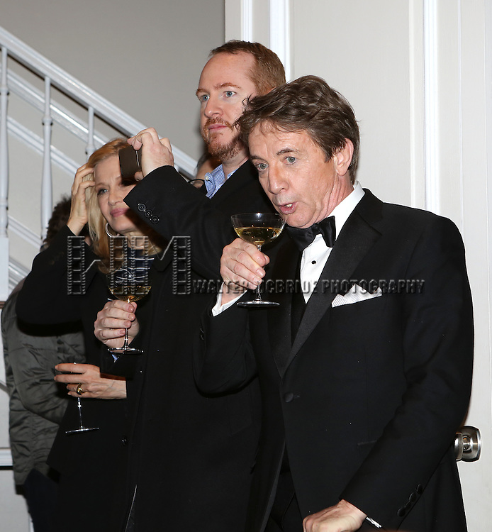 Diane Sawyer, Darren Goldstein and Martin Short attend the re-opening night performance backstage reception for 'It's Only A Play' at the Bernard B. Jacobs Theatre on January 23, 2014 in New York City.