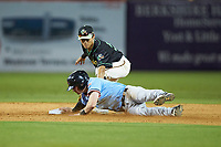 Matt Whatley (19) of the Hickory Crawdads slides into second base ahead of the tag from Ji-Hwan Bae (51) of the Ocelotes de Greensboro at First National Bank Field on June 11, 2019 in Greensboro, North Carolina. The Crawdads defeated the Ocelotes 2-1. (Brian Westerholt/Four Seam Images)