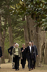 Ole Miss Vice Chancellor Dr. Gloria Kellum, left, Rosemary Hamer, assistant to His Royal Highness, The Prince Edward,  Prince Edward of England and Sam Haskell, executive vice president of the William Morris Agency in Los Angeles walk the driveway to Nobel Price winning novelist William Faulknerís Rowan Oak estate today, Saturday, February 12, 2005.  The Prince is in the  Oxford/University of Mississippi community to raise money for the restoration of Windsor Castle in London.(AP PHOTO/Kevin Bain)