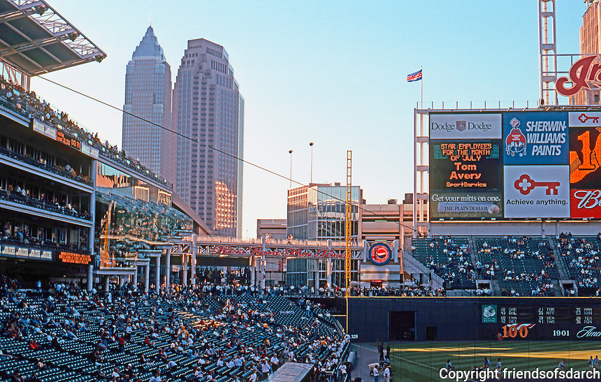 Ballparks: Cleveland--Jacobs Field. Visible beyond, Key Tower (left). Cesar Pelli, 1991, 888 ' high.