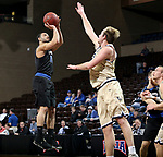SIOUX FALLS, SD - MARCH 10:  Chandler White #10 from St. Francis spots up for a jumper over Sam Vander Sluis #42 from Cornerstone during their quarterfinal game at the 2018 NAIA DII Men's Basketball Championship at the Sanford Pentagon in Sioux Falls. (Photo by Dave Eggen/Inertia)