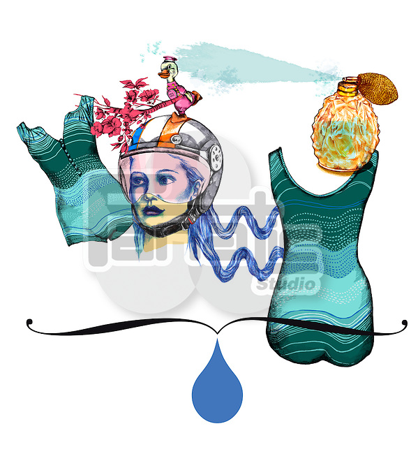 Illustrative image of woman with dress and perfume representing Aquarius sign