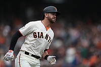SAN FRANCISCO, CA - APRIL 11:  Evan Longoria #10 of the San Francisco Giants runs to first base against the Arizona Diamondbacks during the game at AT&T Park on Wednesday, April 11, 2018 in San Francisco, California. (Photo by Brad Mangin)