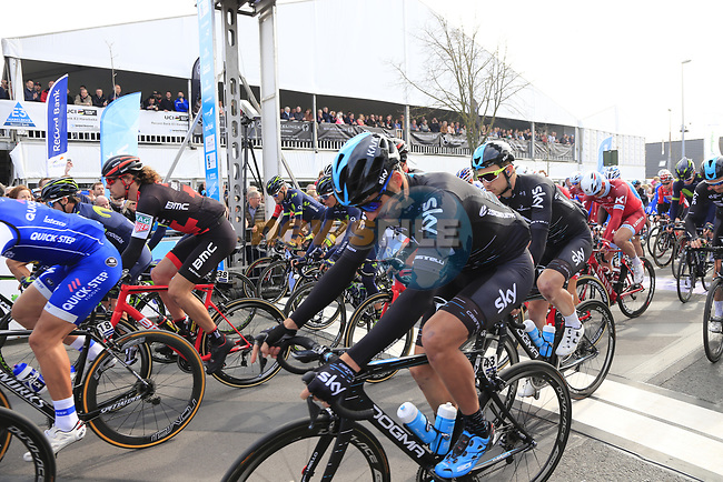 The start of the 60th edition of the Record Bank E3 Harelbeke 2017, Flanders, Belgium. 24th March 2017.<br /> Picture: Eoin Clarke | Cyclefile<br /> <br /> <br /> All photos usage must carry mandatory copyright credit (&copy; Cyclefile | Eoin Clarke)