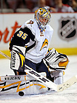31 March 2007: Buffalo Sabres goaltender Ty Conklin warms up prior to facing the Montreal Canadiens at the Bell Centre in Montreal, Canada...Mandatory Photo Credit: Ed Wolfstein Photo *** Editorial Sales through Icon Sports Media *** www.iconsportsmedia.com