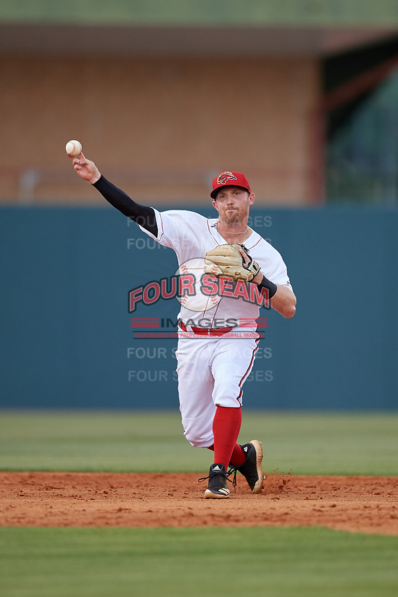 Florida Fire Frogs shortstop Riley Unroe (7) throws to first base during a Florida State League game against the Jupiter Hammerheads on April 8, 2019 at Osceola County Stadium in Kissimmee, Florida.  Florida defeated Jupiter 7-6 in ten innings.  (Mike Janes/Four Seam Images)
