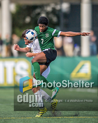 24 September 2016: Dartmouth College Big Green Forward/Midfielder Yima Asom, a Junior from Fairview, Texas, in action against the University of Vermont Catamounts at Virtue Field in Burlington, Vermont. The teams played to an overtime 1-1 tie in front of an Alumni Weekend crowd of 1,710 fans. Mandatory Credit: Ed Wolfstein Photo *** RAW (NEF) Image File Available ***