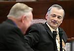 Nevada Senate Republicans Don Gustavson, left, and James Settelmeyer talk on the Senate floor at the Legislative Building in Carson City, Nev., on Friday, April 17, 2015.<br /> Photo by Cathleen Allison