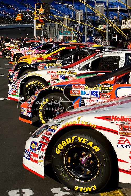 Cars are lined up before the start of the Bank of America 500 NASCAR race at Lowes's Motor Speedway in Concord, NC.