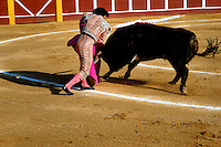 A Spanish bullfighter performs at the bullring in Fuengirola, Spain, 28 April 2007.