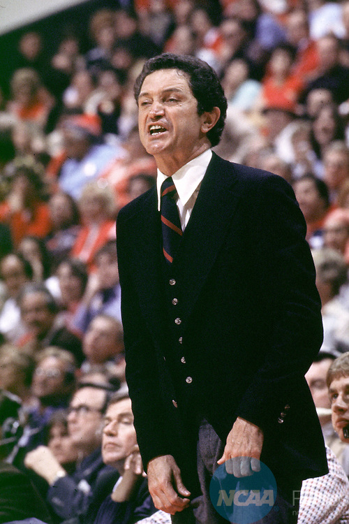 28 MAR 1977:  Marquette coach Al McGuire during the NCAA National Basketball Championship game in Atlanta, GA, The Omni. Lee was voted Most Oustanding Player for the tounament. Marquette defeated North Carolina 67-59 to win the title. Rich Clarkson/NCAA Photos