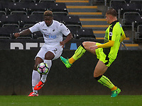 Pictured: (L-R) Tyler Reid of Swansea City against Josh Barrett of Reading Monday 15 May 2017<br /> Re: Premier League Cup Final, Swansea City FC U23 v Reading U23 at the Liberty Stadium, Wales, UK