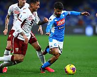 29th February 2020; Stadio San Paolo, Naples, Campania, Italy; Serie A Football, Napoli versus Torino; Lorenzo Insigne of Napoli holds off Armando Izzo of Torino FC