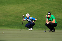 Connor Syme (SCO) and Sebastian Heisele (GER) on the 5th green during Round 1 of the Challenge Tour Grand Final 2019 at Club de Golf Alcanada, Port d'Alcúdia, Mallorca, Spain on Thursday 7th November 2019.<br /> Picture:  Thos Caffrey / Golffile<br /> <br /> All photo usage must carry mandatory copyright credit (© Golffile | Thos Caffrey)