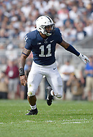 STATE COLLEGE, PA - SEPTEMBER 1:  Penn State true freshman LB Micah Parsons (11) sprints to the ball. The Penn State Nittany Lions defeated the Appalachian State Mountaineers 45-38 in overtime on September 1, 2018 at Beaver Stadium in State College, PA. (Photo by Randy Litzinger/Icon Sportswire)